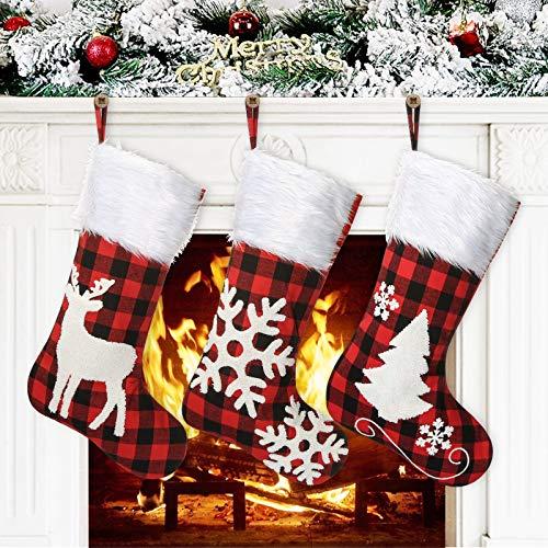 Awroutdoor 3 Pezzi Calza di Natale Set, 46cm Grandi Calze Natalizie con 3D Ricamo Design Sacchetti Regalo per Albero di Natale Festa di Natale Decorazioni-Tipo 2