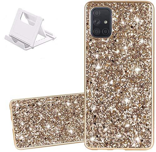 Yobby Glitzer Gold Hülle Kompatibel mit Samsung Galaxy A51,Kristall Strass Diamant Glänzend Handyhülle Hart PC Schale + TPU Bumper [Kostenlos Handy Ständer] Stoßfest Schutzhülle