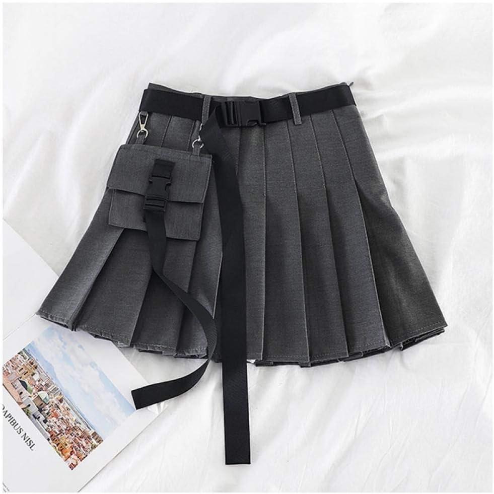 ZJLX Women Streetwear Workwear Half-Length Pleated Skirt Black Short Skirt