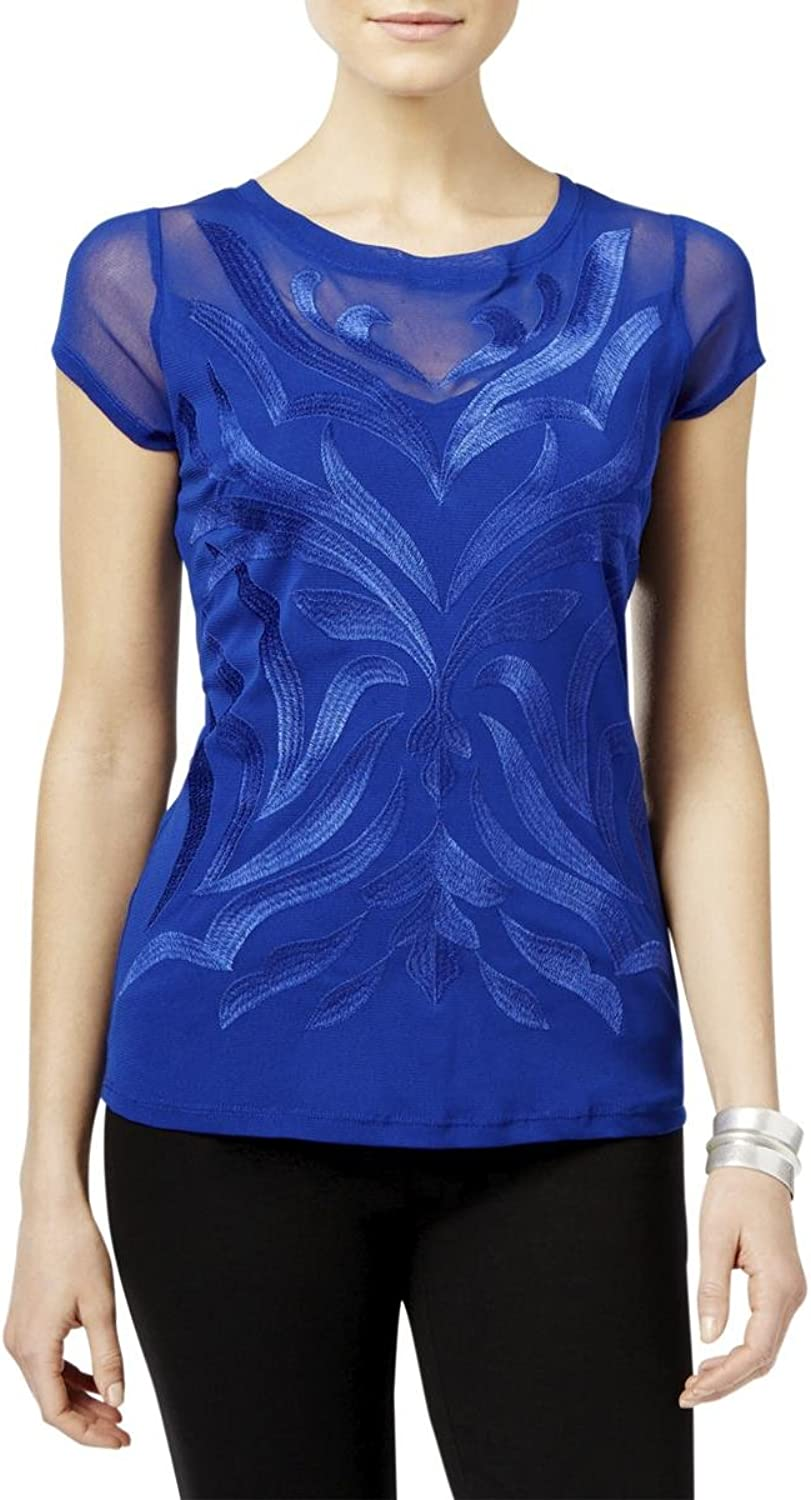 INC Womens Embroidered Illusion Knit Blouse