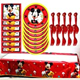 Mickey Mouse Party Supplies Set - Mickey Birthday Party Paper Cake Plates,Mickey Mouse Napkin, Mickey Birthday Theme Tablecloth Decorations(20 Guest)