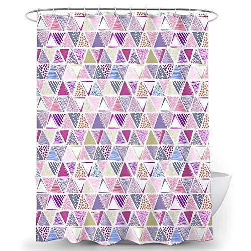 Alumuk Duschvorhang Wasserdicht Blickdicht Duschvorhänge Textil aus Polyester Bunt Triangle Muster mit Verstärkte Löcher Beschwertem Saum inkl. 16 Duschvorhangringen für Badezimmer