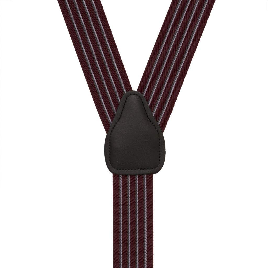 SuspenderStore Men's Pinstripe Elastic Suspenders - Button