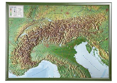 Alpen mit Rahmen 1:1.2MIO: Reliefkarte vom Alpenbogen mit grünfarbenen Holzrahmen