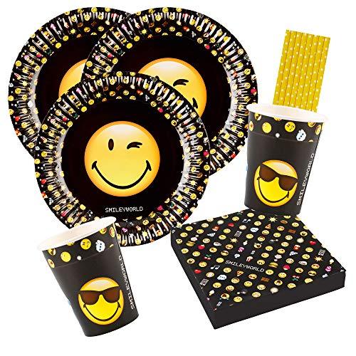 Amscan/Hobbyfun 44-teiliges Party-Set Smiley Emoticons - Teller Becher Servietten Trinkhalme für 8 Personen