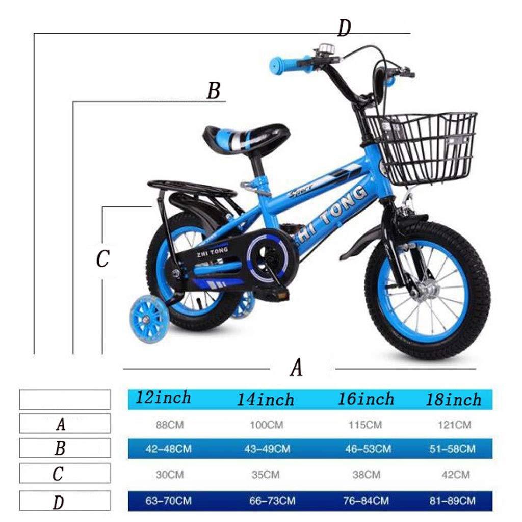 """WGYEREAM Bicicleta para Niños, Bicicleta Infantil, Niños Bici del niño con la Botella de Agua de Acero Ajustable niños Formación de Bicicletas de 2-9 años de Edad en tamaño 12"""" 14"""" 16"""""""