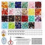 Richaa 24 Colores cuentas de piedras preciosas con chip natural, cuentas sueltas de cristal curativo, chips de cristal, chips irregulares, juego de cuentas de piedra para joyería de bricolaje