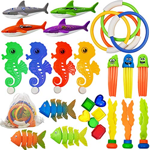ToyerBee Diving Toys 27 PCS Pool/Swimming Toys of Various TypesSummer Underwater Fun with Diving Rings& Torpedo Bandits& Octopus& Fishes& Private Treasures Best Pool Toys for Age 3456789