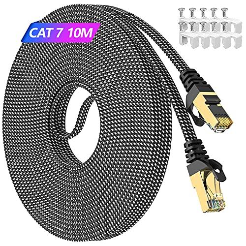 10m Lan Kabel, Cat 7 Netzwerkkabel 10meter Flach Hochgeschwindigkeits Outdoor Wasserdicht & Indoor Anti-Verschleiß(PVC+Nylon)- 750MHz Cat 7 Rohkabel S/FTP Schirmung mit RJ45 Hafen & Kein Signalverlust