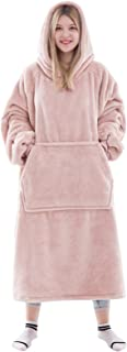 Waitu Wearable Blanket with Sleeves for Women and Men, Oversized Blanket Hoodie with Giant Pocket for Adult and Child, Super Warm and Cozy Hooded Blanket - Pink/XL