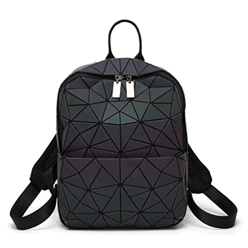 HotOne Shard Lattice Design Geometric Backpack Holographic Reflective Backpacks PU Leather Fashion Backpack (NO.