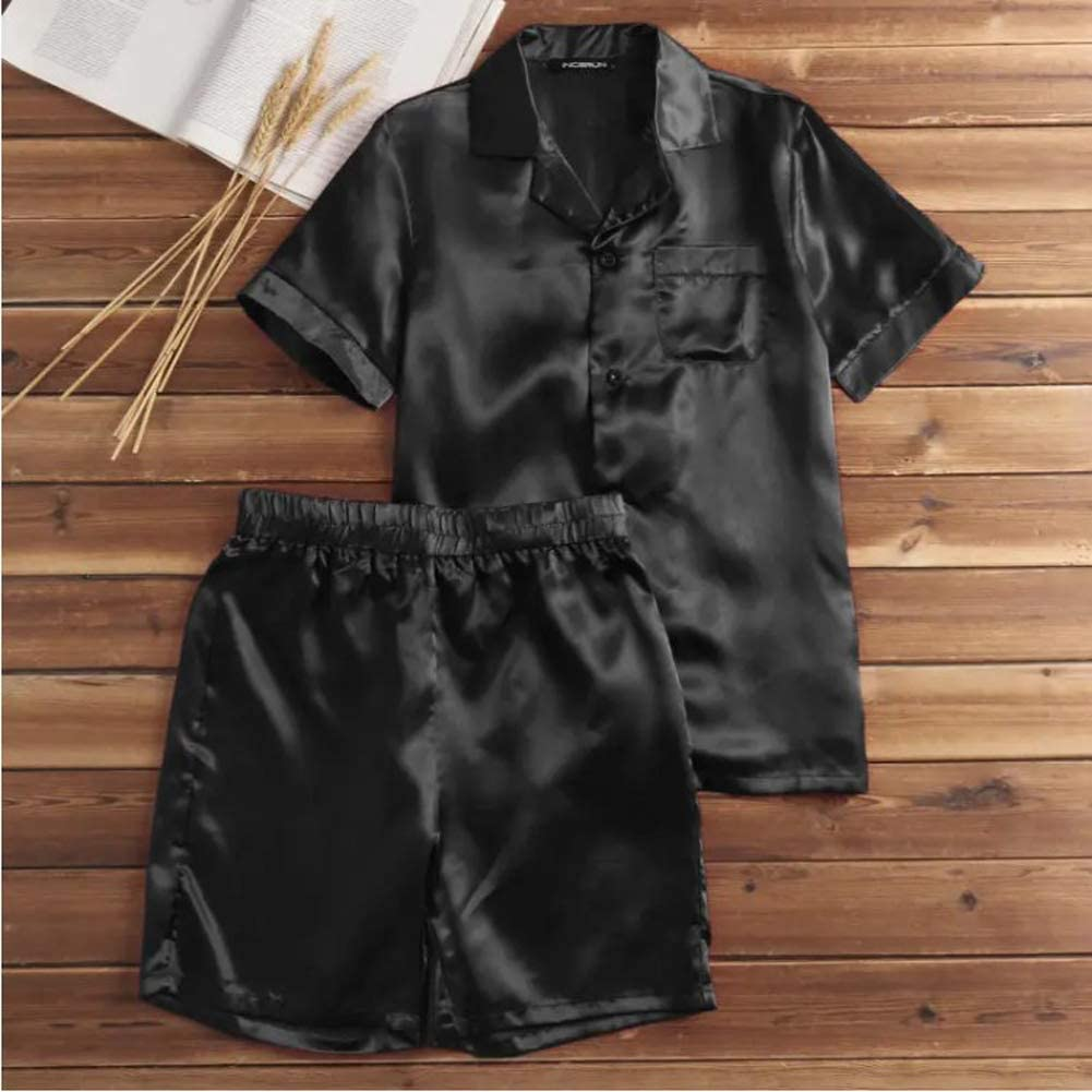 Mens Silk Satin Pajamas Sets Solid Short Sleeve Button Down Tops Shorts Sleepwear Summer Pjs Loungewear Plus Size