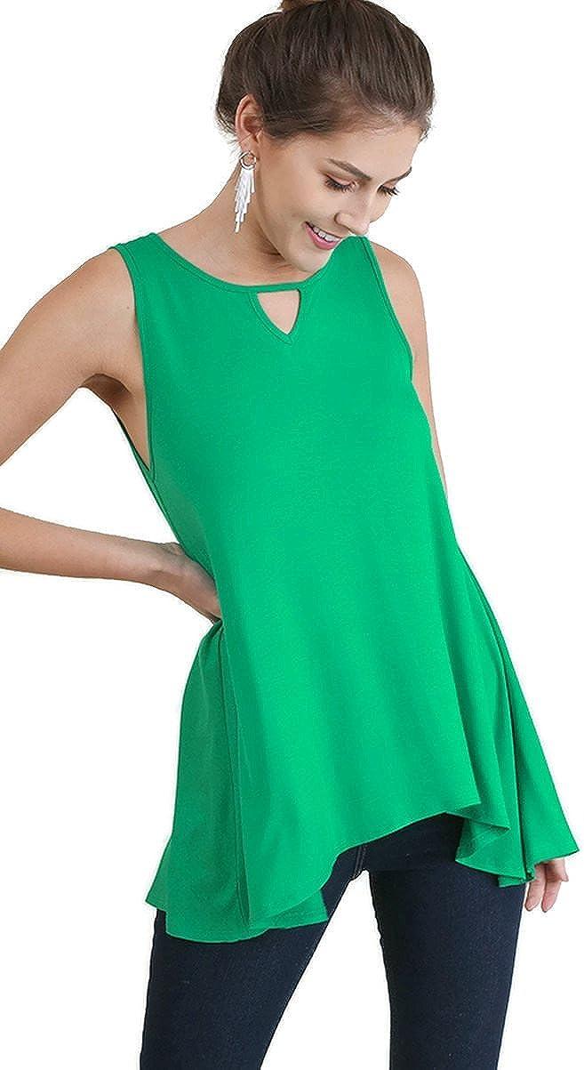 Umgee Women's Keyhole Sleeveless Tunic Top