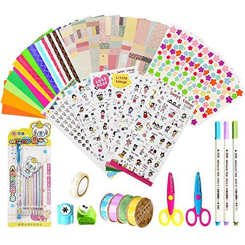 Scrapbook Accessories 43pcs, Scrapbook Kit Photo Album Accessories, Scrapbooks Accessories for Journal/Planner/Card Making/Craft DIY(Stickers,Tapes,Metallic Pen,Wave Scissor,Photo Corners,Craft Punch)