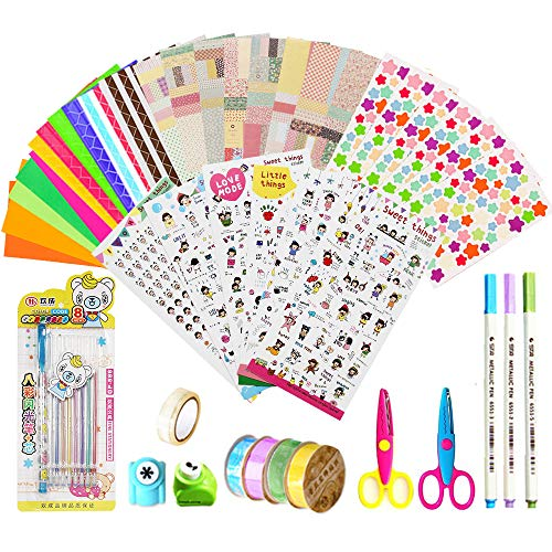 Scrapbook Accessories 43pcs, Scrapbook Kit Photo Album Accessories, Scrapbooks Accessories for Journal/Planner/Card Making/Craft DIY(Stickers,Tapes,Metallic Pen,Wave Scissor,Photo Corners,Craft Punch)