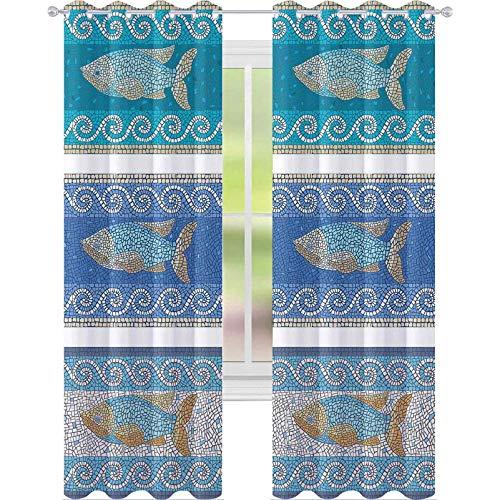 Cortinas opacas para dormitorio, estilo antiguo, cerámicas bizantinas inspiradas en el patrón de peces fractales marinos, 63 pulgadas de largo, cortinas de bloqueo de luz para guardería, azul pizarra
