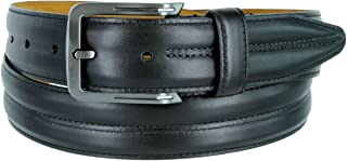 Mens Lejon Belt- Center Club Full Grain Genuine Steerhide Leather Dress Belt In Black Made In USA