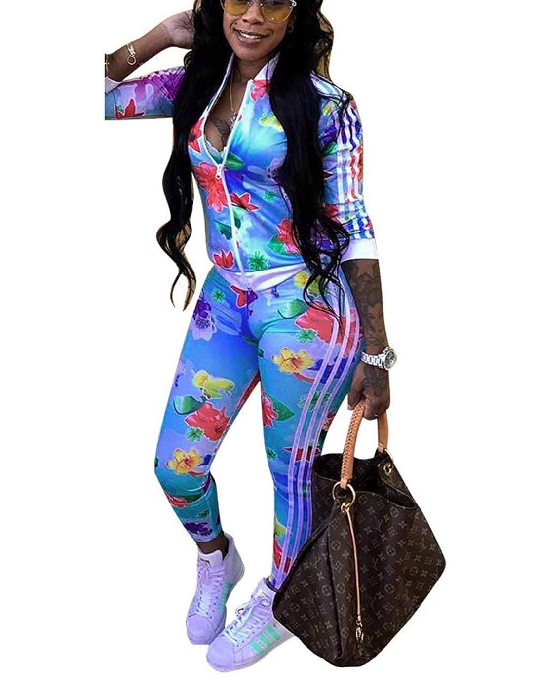 Angsuttc Women Floral Print Tracksuit 2 Piece Outfit Zip Up Jacket Long Pants Set