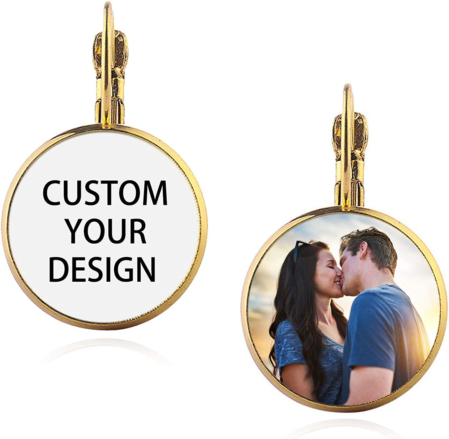 Custom Photo Clip-On Earrings for Women, Personalized Round Earrings with Picture/Text, Fashion Jewelry Gift for Wedding Birthday Anniversary