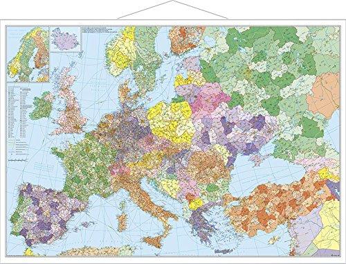 Europa mit Türkei - Straßen und Postleitzahlen: Wandkarte mit Metallbeleistung