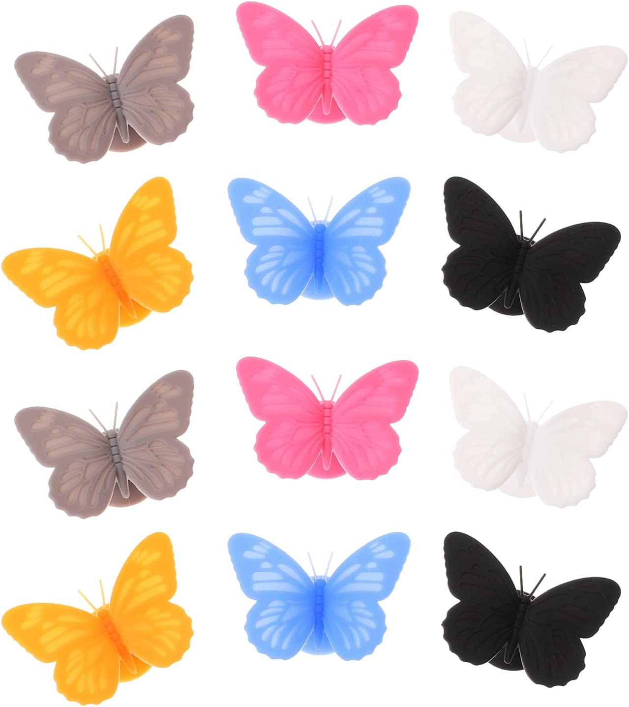 FRCOLOR 12pcs Wine Glass Markers Silicone Gl Set Sale Special price for a limited time Special Price Butterfly Drink