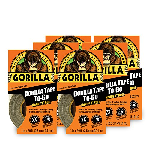 """Gorilla Mini Duct Tape To-Go, 1"""" x 10 yd Travel Size, Black, (Pack of 6)"""