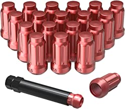 YITAMOTOR Lug Nuts 12x1.5 Red, 6 Spline Bulge Acorn Wheel Lug Nuts 1.38