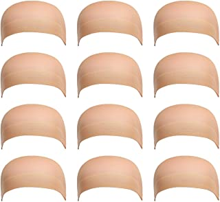 12 Pack Dreamlover Beige Stocking Wig Caps, Flesh Color Stretchy Nylon Close End Wig Caps, Each Paper Board Contains 2 Wig Caps (Beige)
