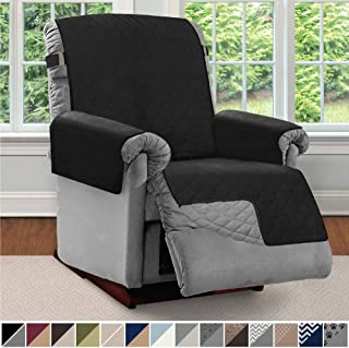 Sofa Shield Original Patent Pending Reversible Large Recliner Protector, Seat Width up to 28 Inch, Furniture Slipcover, 2 Inch Strap, Reclining Chair Slip Cover Throw for Pets, Recliner, Black Gray