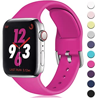 Zekapu Sport Band Compatible for Apple Watch Band 38mm 42mm 40mm 44mm, Soft Silicone Buckle Waterproof Replacement Wristband for iWatch Series 5 4 3 2 1 Women Men, S/M M/L