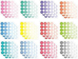 Monolike Circle Stickers - Solid Round Dot Samll Size A + B Set, 12 Type Stickers 36 Sheets