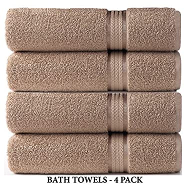 Cotton Craft 4 Pack - Ultra Soft Oversized Extra Large Bath Towels 30x54 Linen - 100% Pure Ringspun Cotton - Luxurious Rayon trim - Ideal for Daily Use - Each Towel Weighs 22 Ounces