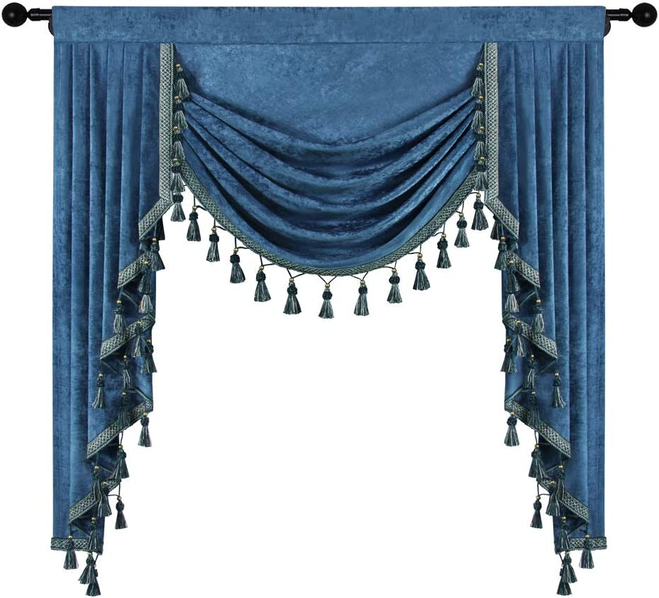 Long Beach Mall Thick Chenille Luxury goods Window Curtains Valance for Wate Blue Living Room