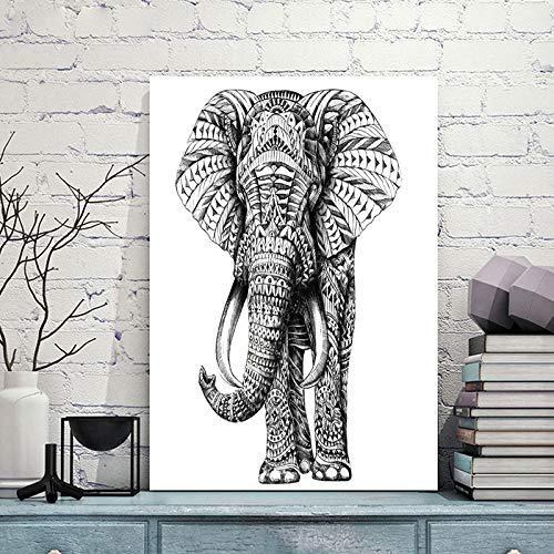 Modekunst Leinwand Malerei bunte Giraffe grau weiß Elefant Tier Wandkunst Dekoration Bild für Wohnzimmer nach Hause rahmenlose Dekoration Malerei A42 50x70cm