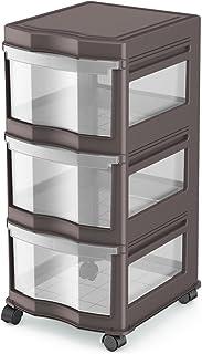 $21 » Life Story Classic 3 Shelf Standing Plastic Storage Organizer and Drawers, Gray