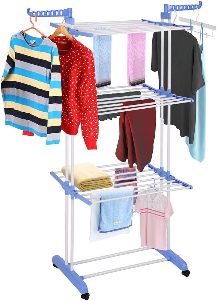 Bargain sale Aquaterior Folding 3 Tier Clothes Collapsibl Popular brand in the world Drying Rolling Rack