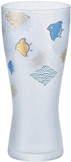 アデリア ビールグラス ゴールド 310ml プレミアムニッポンテイスト波千鳥 ビアグラス(泡づくり機能付) ギフト箱入 日本製 6662