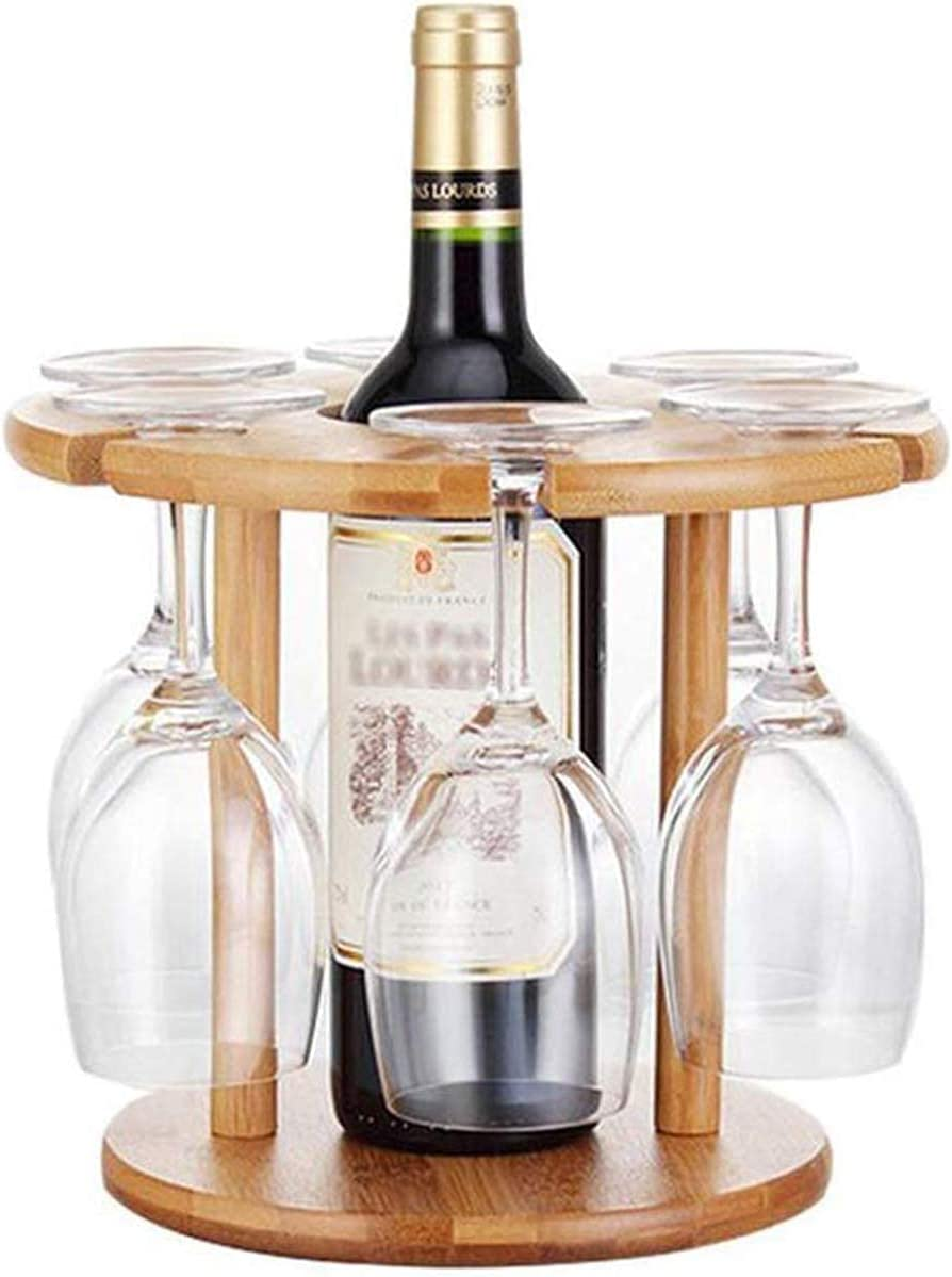 Limited time for free shipping Wine Racks 6 Hole Max 74% OFF Rack Down Decoration Upside Goblet Bambo