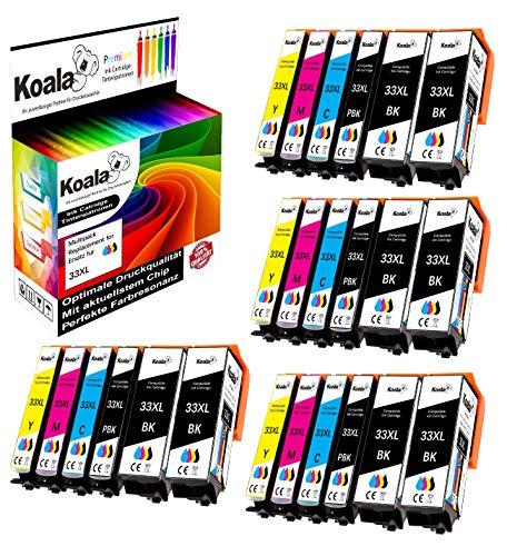 Koala 24 Druckerpatronen kompatibel für Epson 33 33XL T3351 T3361 T3362 T3363 T3364 für Epson Expression Premium XP-530 XP-540 XP-630 S XP-635 XP-640 XP-645 XP-830 XP-900 8*BK 4*FBK 4*C 4*M 4*Y