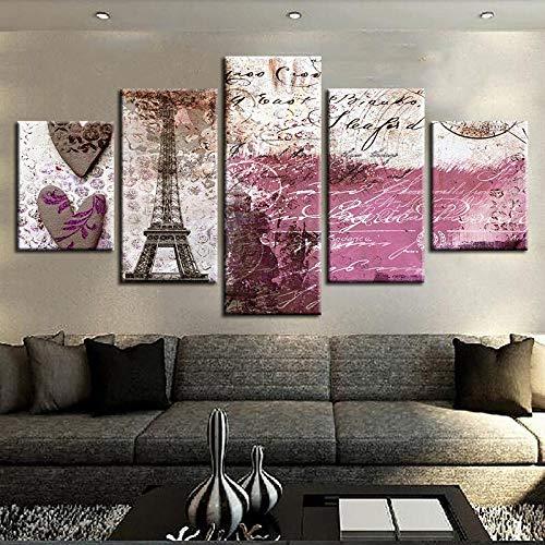 Cuadros en lienzo Decoración para el hogar 5 piezas Pintura de paisaje...
