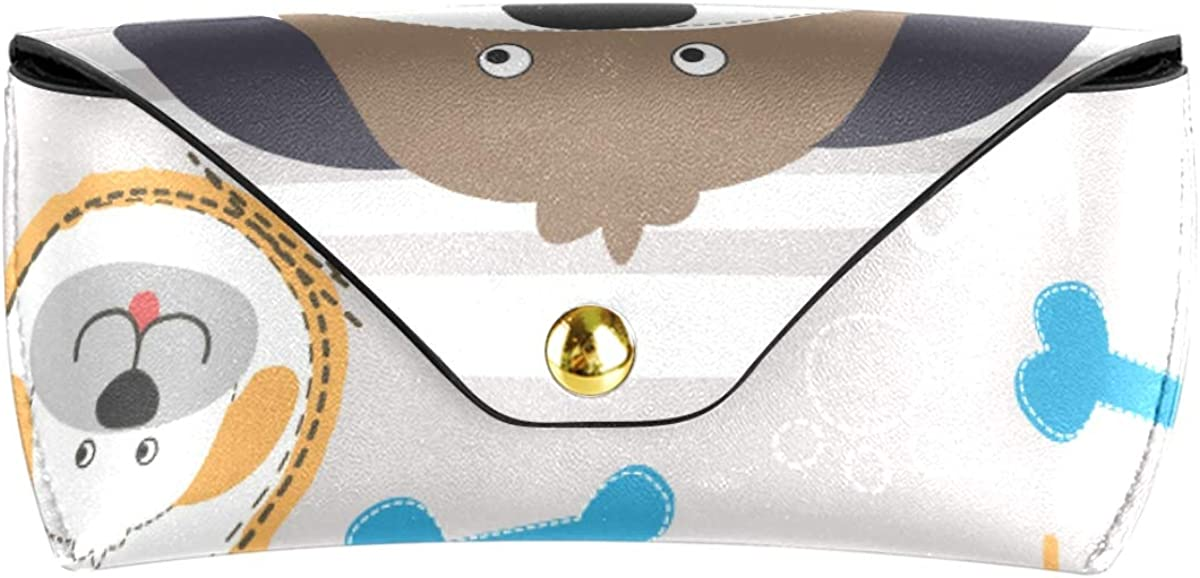 Portable Cute Dog Head With Paw And Bone Sunglasses Case Eyeglasses Pouch Multiuse Goggles Bag PU Leather Cute