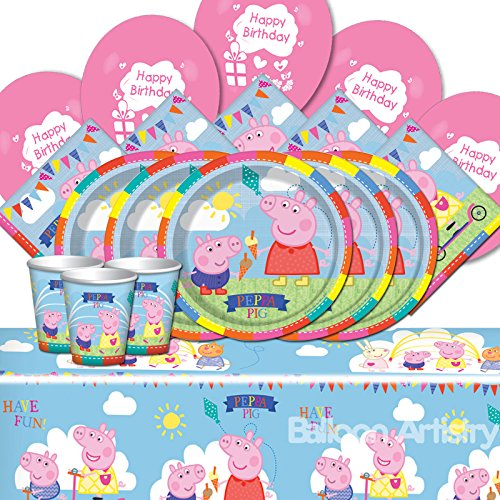 Peppa Pig Childrens Happy Birthday Balloon Party Tableware Pack