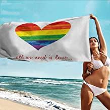 TT.HOME Bath Towel,Pride All We Need is Love Quote with Heart Symbol in The Gay Parade Colors Valentines,Super Soft Highly Absorbent,W55x27L, Multicolor