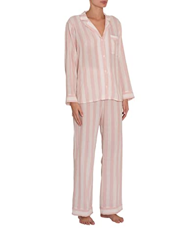 Eberjey Umbrella Stripes Woven Long PJ (Ballet Pink/Cloud) Women