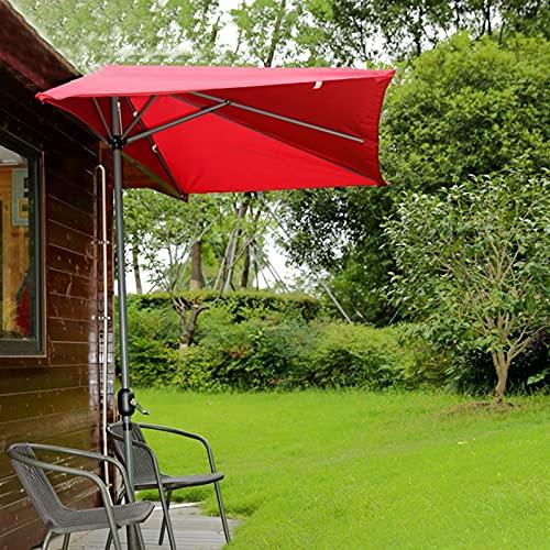 Sombrilla Terraza Parasol Jardin Medio Rectangular Sombrilla de Patio, Rojo contra el Mercado de La Pared Sombrilla de Mesa con Manivela, para Ventana de Balcón Parasol, 2,5 × 1,3 M