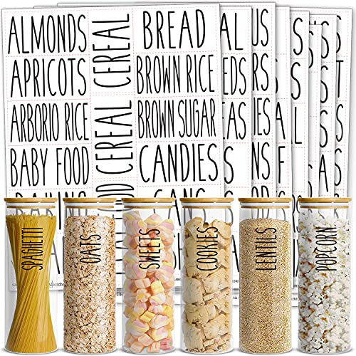 Talented Kitchen 136 All Caps Pantry Labels – 136 Kitchen Pantry Names – Food Label Sticker, Water Resistant Pantry Labels for Containers, Jar Labels Pantry Organization and Storage. Rae Dunn Inspired