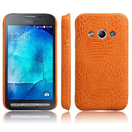 Telefono Caso per Samsung Galaxy Xcover3 G388F Custodia PU Coccodrillo Pelle Copertura Back Case Cover (Giallo)