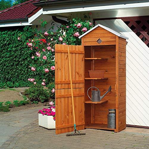 Gartenschrank Leo I, Kiefer, honigbraun, 76 x 49 x 193 cm, Geräteschrank, Outdoorschrank, Garten, Gartenaufbewahrung, Gartenausstattung
