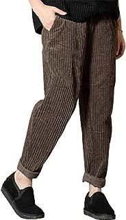Women's Elastic Waist Slim Fit Retro Vintage Corduroy Pants