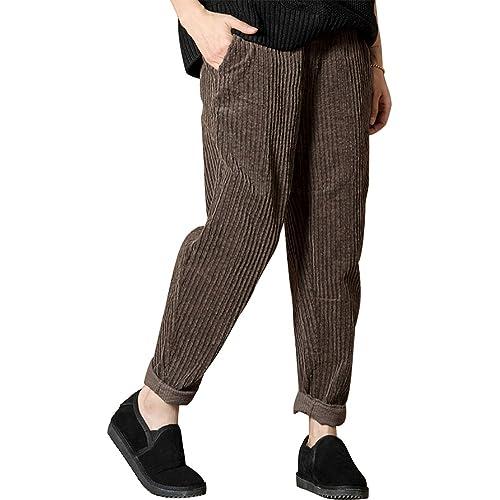 01e6a89d169 IDEALSANXUN Women s Elastic Waist Slim Fit Retro Vintage Corduroy Pants